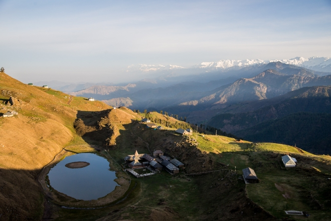 Note that the little island in Prashar lake moves its position