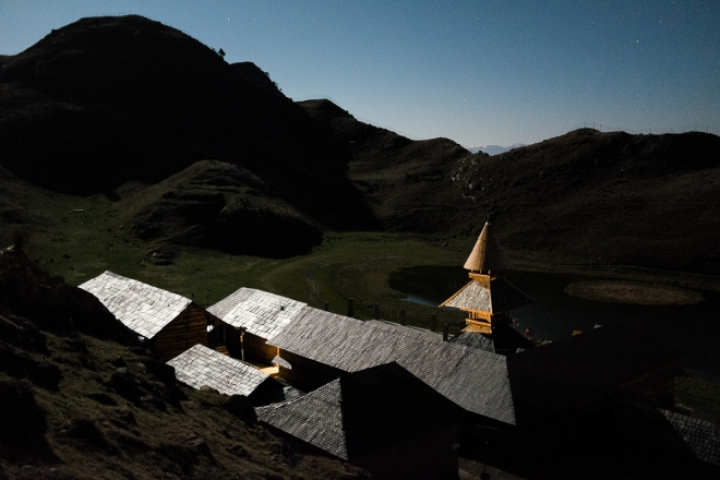 Prashar Temple glows magically